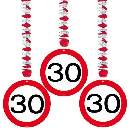 Traffic Sign 30th Party Hanging Decor 3 Birthday Decoration